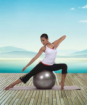 fitness ballon de gym pour affiner ses jambes